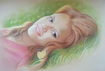 Настоящий портрет пастелью для любимой девушки в Алма-Аты, просто и со вкусом!