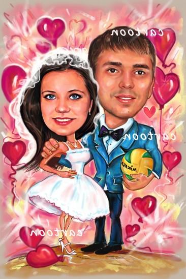 Свадебный шарж с оригинальным сюжетом в Алма-Аты!