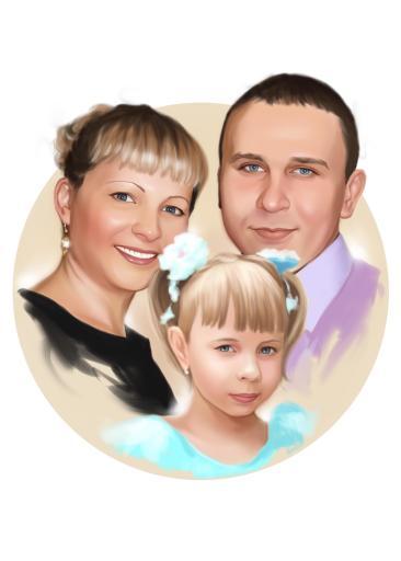 Семейный портрет по фото на холсте в Алма-Аты — правильный подарок!