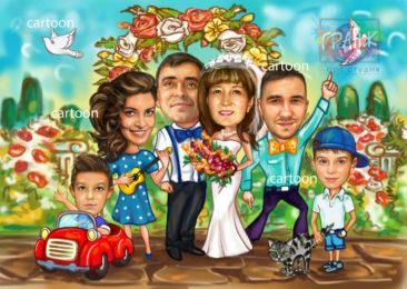 Шарж по фото на годовщину свадьбы на заказ в Алма-Аты…