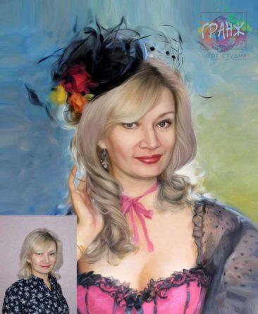 Заказать арт портрет по фото на холсте в Алма-Аты